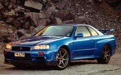 Blue R34 Nissan Skyline GT-R