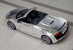 Chrome Effect Finish Audi R8 Spyder V10 Top View