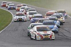 Gordon Shedden leads the BTCC pack at Snetterton