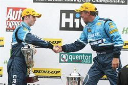 Jason Plato and Alex MacDowall at Oulton Park Podium