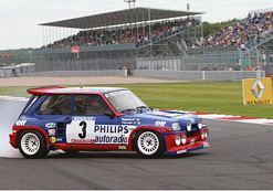 Jean Ragnotti entertains the crowds in his Renault 5 Maxi Turbo