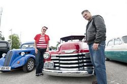 Jo and Ross Hayden beside a 1952 Chevrolet Pick-up