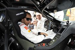 Lewis Hamilton in road and race versions of new 12C