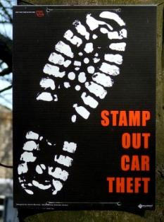 Stamp Out Car Theft Sign