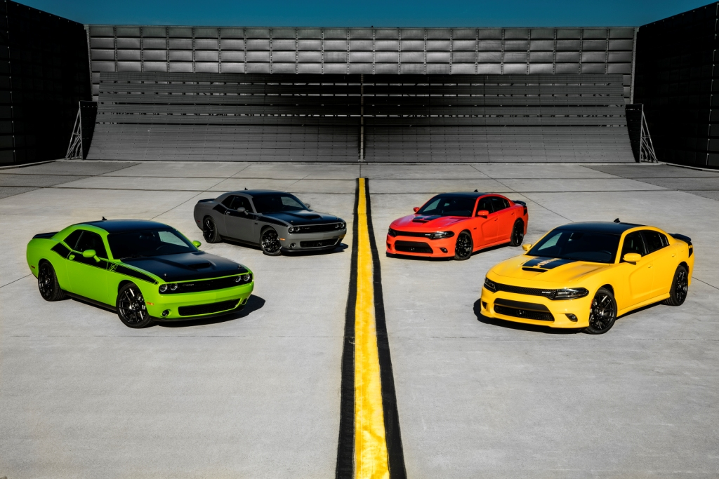2017 Dodge Challenger T/A, 2017 Dodge Challenger T/A 392, 2017 Dodge Charger Daytona 392 and 2017 Dodge Charger Daytona (from left to right)