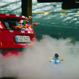 The Ford Mustang provides smoke on the dronekhana course