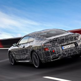 The new BMW 8 Series Coupe undergoes vehicle dynamics testing on the racetrack