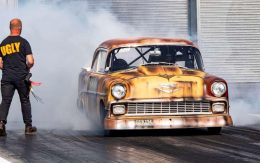 Andy Bond warms the tyres in his 200mph Ugly Sister Chevy