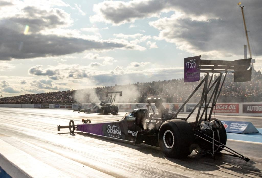 Susann Callin pilots the Slick Tricks Top Fuel Dragster