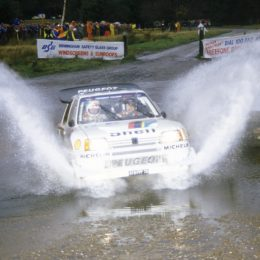 Timo Salonen's victorious Peugeot 205 T16E2 on the 1986 Rally GB