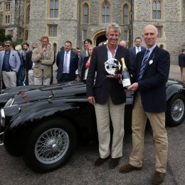 Barrie Woolston (left) presented with Jaguar Trophy for his XK120